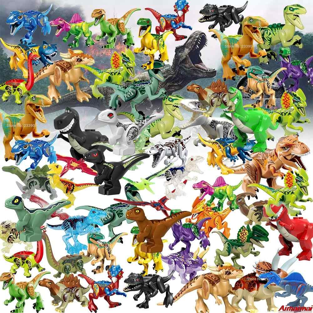 Legoing Dinosaur Set Jurassic World Raptors Indominus Rex Figures Blocks Jurassic Park Toy Dragon Animals Bricks Gifts Kids Toys