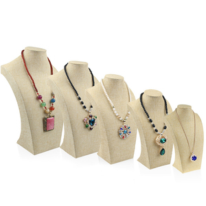 Linen Necklace Stand Mannequin Jewelry Display Pendants Holder Model Shelf Neck Bust Frame Showcase Necklace Display