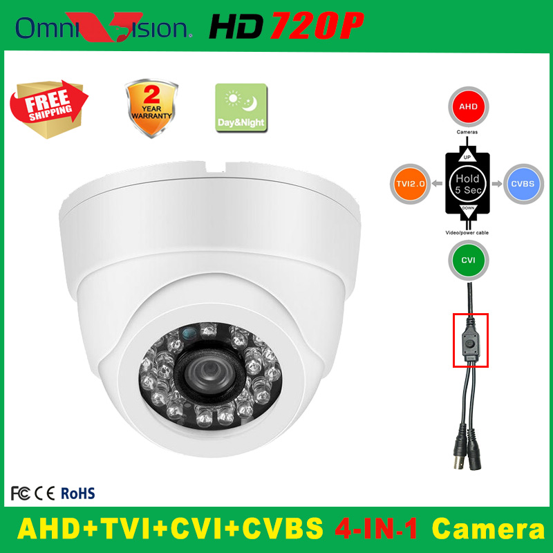 720P Indoor Security AHD TVI CVI Analog  CCTV Camera 5*24PCS IR LED Home Video HD Night Vision CMOS Mini Plastic Dome IR Camera analog hd 1080p tvi camera dome 720p ir 20m night vision video security surveillence indoor 3 6mm lens cctv hdtvi camera