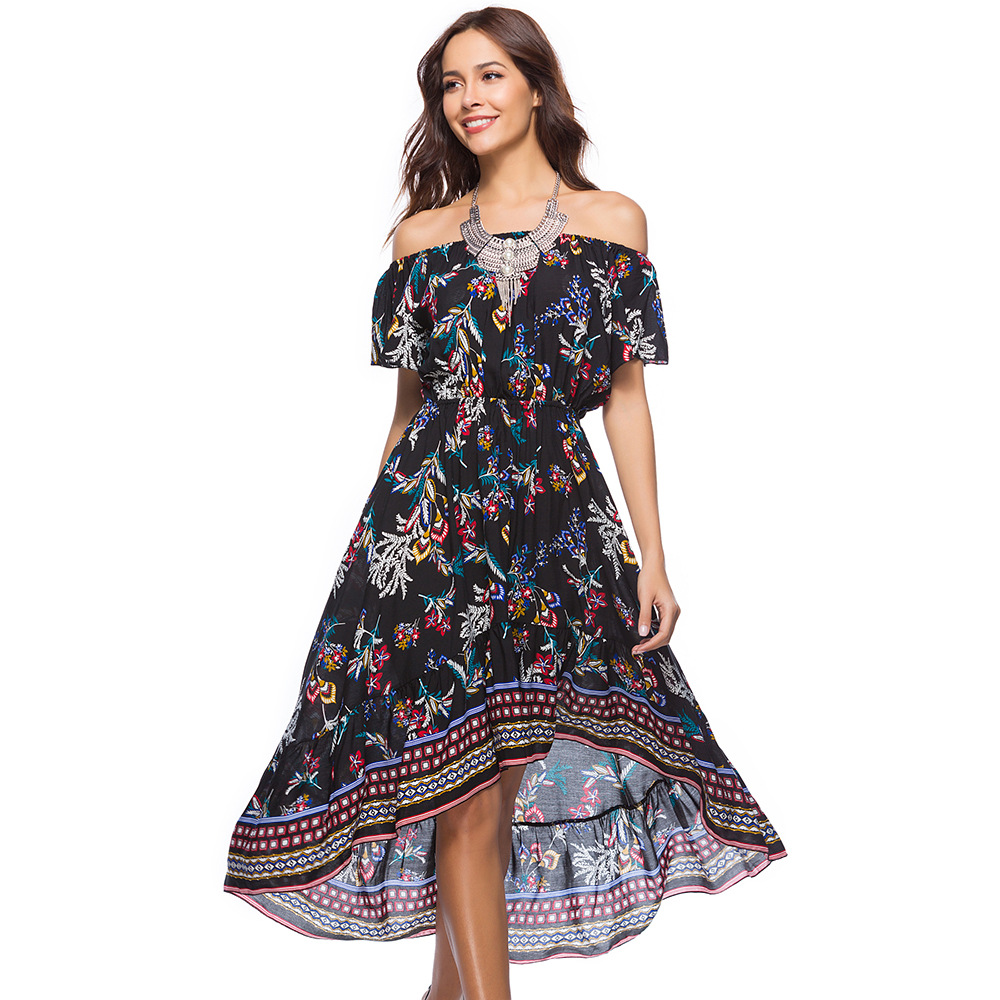 1ebb6f84475d2 2018 Women's Dresses Summerdress Floral Boho Off Shoulder Maxi Chiffon  Flowy Party Dress for women Elastic Waist-in Dresses from Women's Clothing  & ...