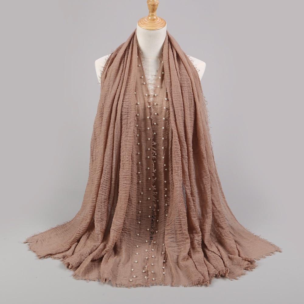 2019 Cotton Scarf Beads Bubble Pearl Wrinkle Shawls Hijab Drape Stitching Bandanas Fringe Crumple Muslim Scarves/Scarf 55 Color