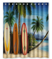Custom Amazing Surfboards Waterproof Polyester Fabric Shower Curtain Bathroom Home Decro Size 150x180cm Freed Shipping 48