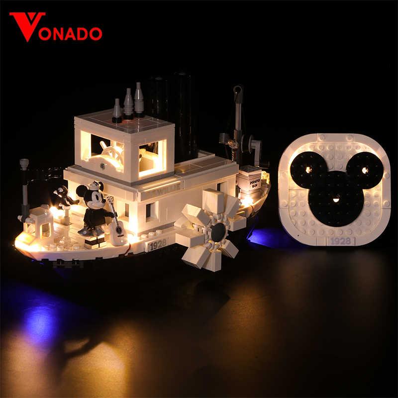 Zestaw oświetlenia LED do LEGO Disney Mickey Willie do gotowania na parze łodzi pomysły na produkty 21317 zestaw oświetlenia klocki zabawki (tylko światło + opakowanie na baterie)