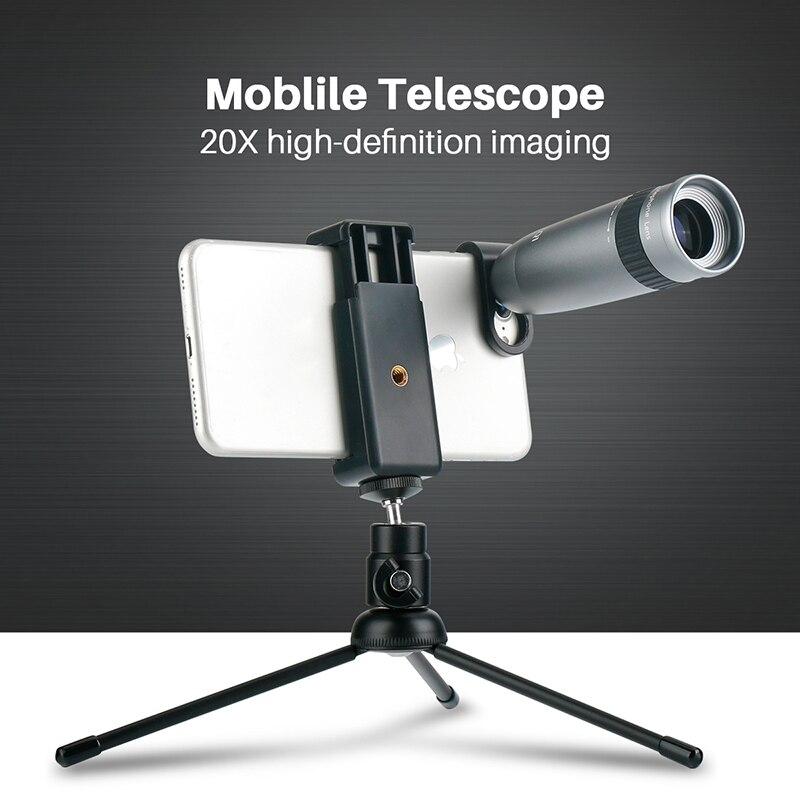 Universel 20X Téléobjectif pour Téléphone Zoom Optique Télescope Lentille avec Clips pour l'iphone X Xs Max 8 7 plus Huawei HTC