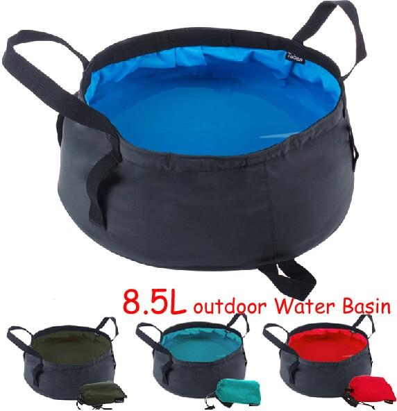 8,5 L Nylon Bärvatten Fångst Fountain Pitcher Basin Laver Storage - Camping och vandring