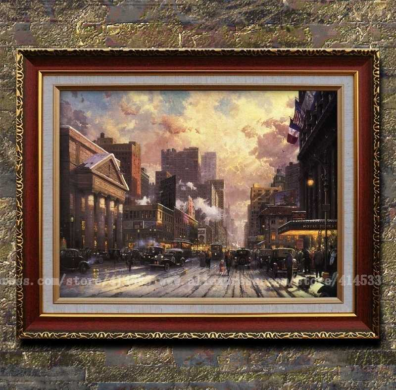 Wonderful Seventh Avenue Home Decor Part - 1: Prints Of Thomas Kinkade Oil Painting New York,snow On Seventh Avenue  Cityscapes Painting Home Decor Modern Wall Painting-in Painting U0026  Calligraphy From ...