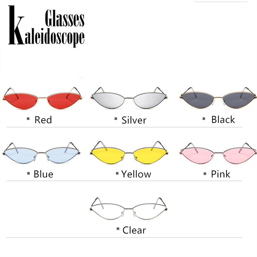 caaafcfcaa Metal Frame Women Cat Eye Sunglasses Cute Sexy Brand Designer Summer Retro  Small Frame Black Red Cateye Sun Glasses UV400-in Sunglasses from Apparel  ...