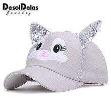 2019 New Fashion Cute Childrens Baseball cap Bunny Ears Child Hat Rabbit Adjustable Spring Summer Sequin Sport Boy Girl Kids