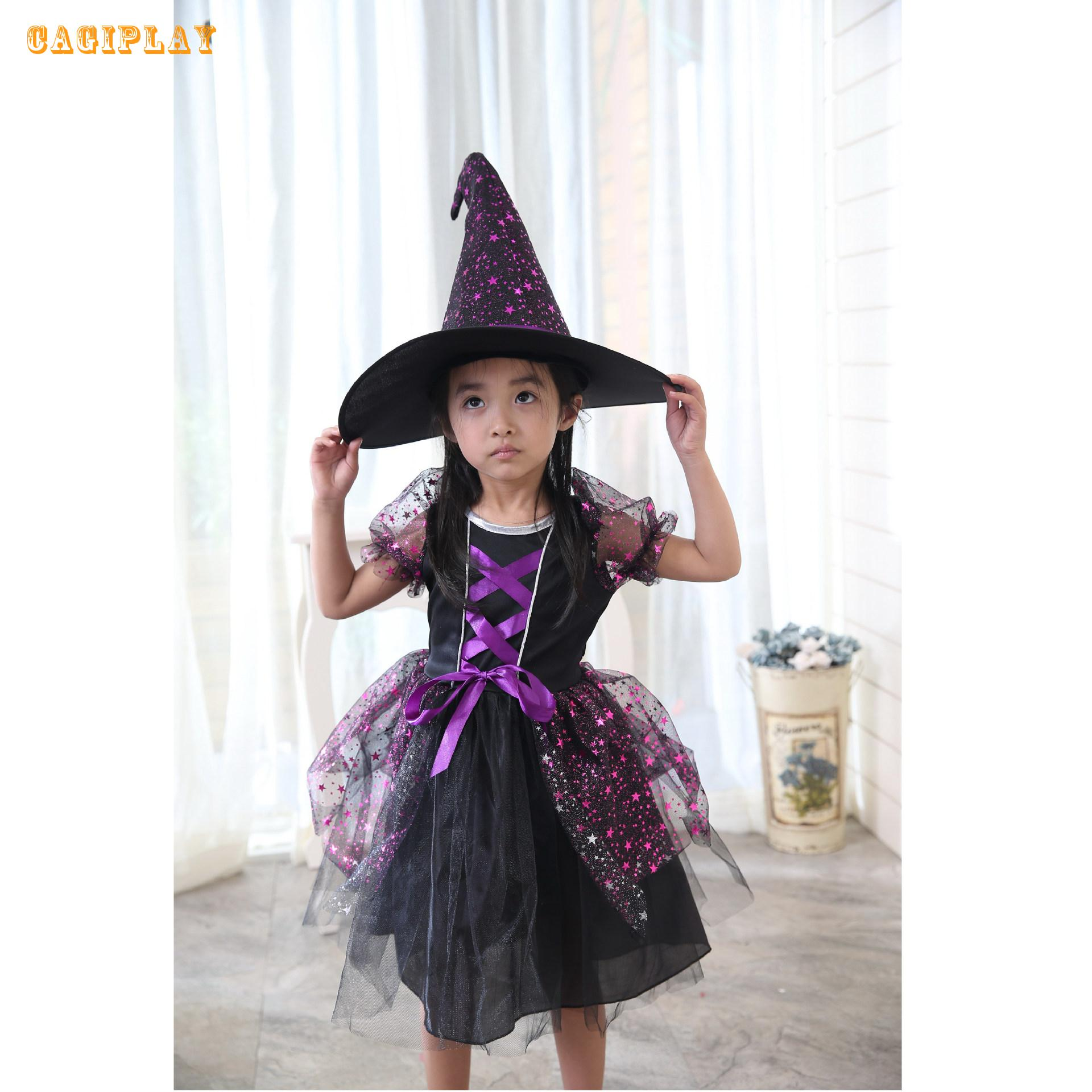 2018 New Deluxe  Princess Purple Witch Dress Girl Carnival Cosplay Clothing Halloween Costume For Kids Age 3-10 Years
