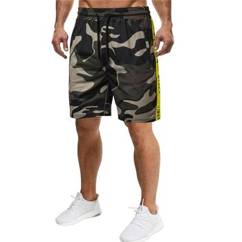 Shorts Men's clothing Red Army green Black Sports Fitness Outwear Camouflage Men's Shorts Side color Strip print New army green loose fit hooded outwear