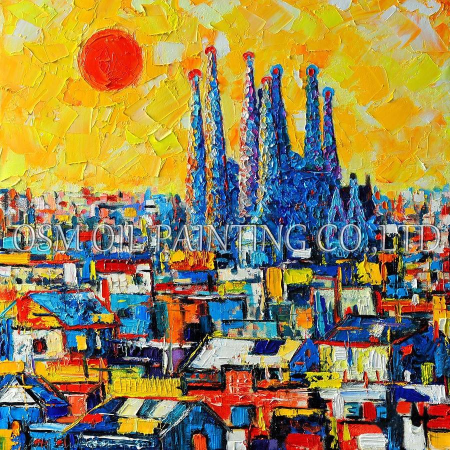 아티스트 디자인 및 손으로 그린 고품질 캔버스에 추상 바르셀로나 유화 아름 다운 스페인 풍경 유화-에서그림 & 서예부터 홈 & 가든 의  그룹 1