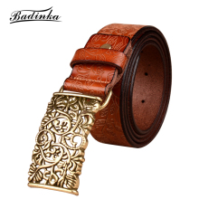 Badinka Fashion Wide Genuine Leather Waist Belts for Women Vintage Floral Pin Buckle Woman Belt High Quality Cowskin Jeans Strap