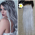 Full Shine Hot Product Brazilian Natural Human Hair Straight Lace Closure Free Part 4*4 Ombre Color 1B/Silver Hair Closure