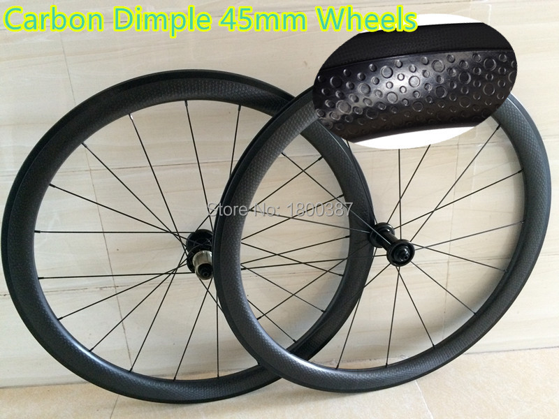 45mm dimple carbon wheelset clincher 45mm height 25mm width dimpled carbon wheels with Powerway R13 road bike Rims 700c road bike dimple carbon rims dimple carbon wheels 58mm depth 25mm width carbon wheelset 20 24h wheelset parts bicycle wheel