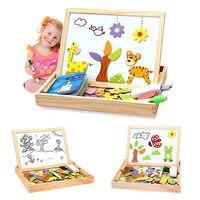 Bambini Tavolo Da Disegno Cavalletto Doodle Magnetismo Animale Puzzle di Legno Lavagna Giocattolo Rifornimenti Del Partito