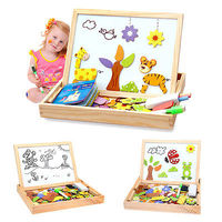 Kids Wooden Animal Magnetism Easel Doodle Drawing Board Jigsaw Blackboard Toy Party Supplies