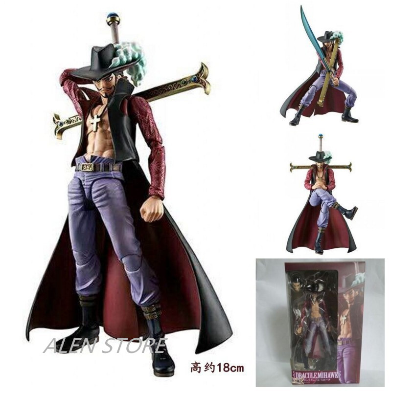 ALEN One piece variable action heroes VAH Hawkeye Japan anime Mihawk 19cm PVC Action figure Collectible model toy onepiece Doll rebecca one piece anime pop pvc action figure collectible model toy 22cm