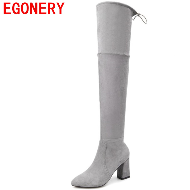 EGONERY fashion high boots woman flock Thin boots Europe style sexy ladies overy knee boots fashion party high heels plus size egonery buckle strap faux leather thick high heels fashion style ladies party shoes women s shoe plus size woman pumps