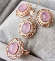 Natural real rose quartz set 925 sterling silver Set include 1pc ring,1pc pendant ,1pair stud earring 2.4CT*4PCS gems #16030613