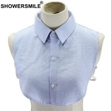 SHOWERSMILE Fake Collar Shirt Women Blue White Striped Female Detachable Cotton Ladies Lapel False