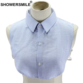 SHOWERSMILE Fake Collar Shirt Women Blue White Striped Female Detachable Collar Cotton Ladies Lapel Fake False Collar