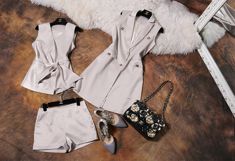 Runway Style 3 Piece Blazer Shorts Women Suits (8)