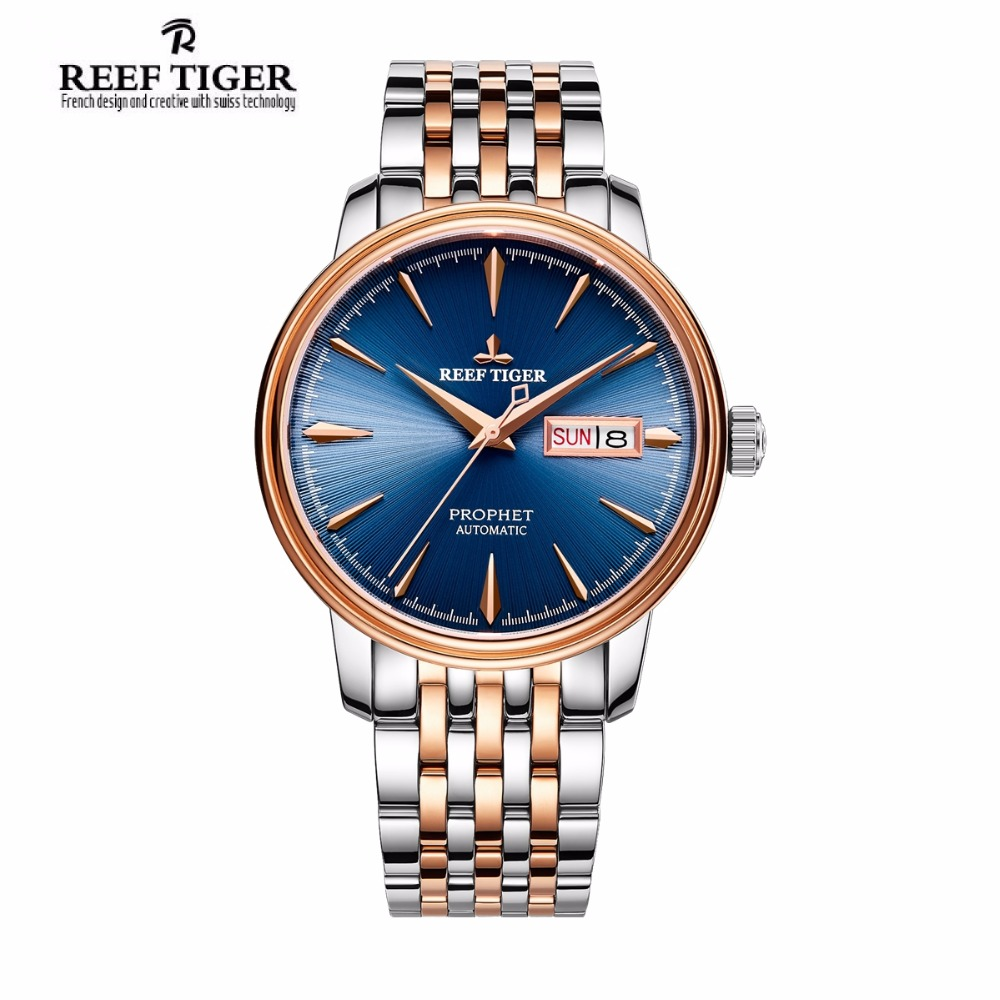 2017 Reef Tiger/RT Luxury Fashion Watches for Men Two Tone Rose Gold Automatic Watch with Date Day RGA8236 часы dkny ny2289 two tone gold