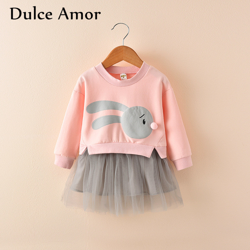 Dulce Amor Girls Dress 2017 Autumn Long Sleeve Fake Two Girls Lace Dress Print Rabbit Princess Dresses Baby Girl Clothes cacharel туалетная вода amor amor sunrise 100 ml
