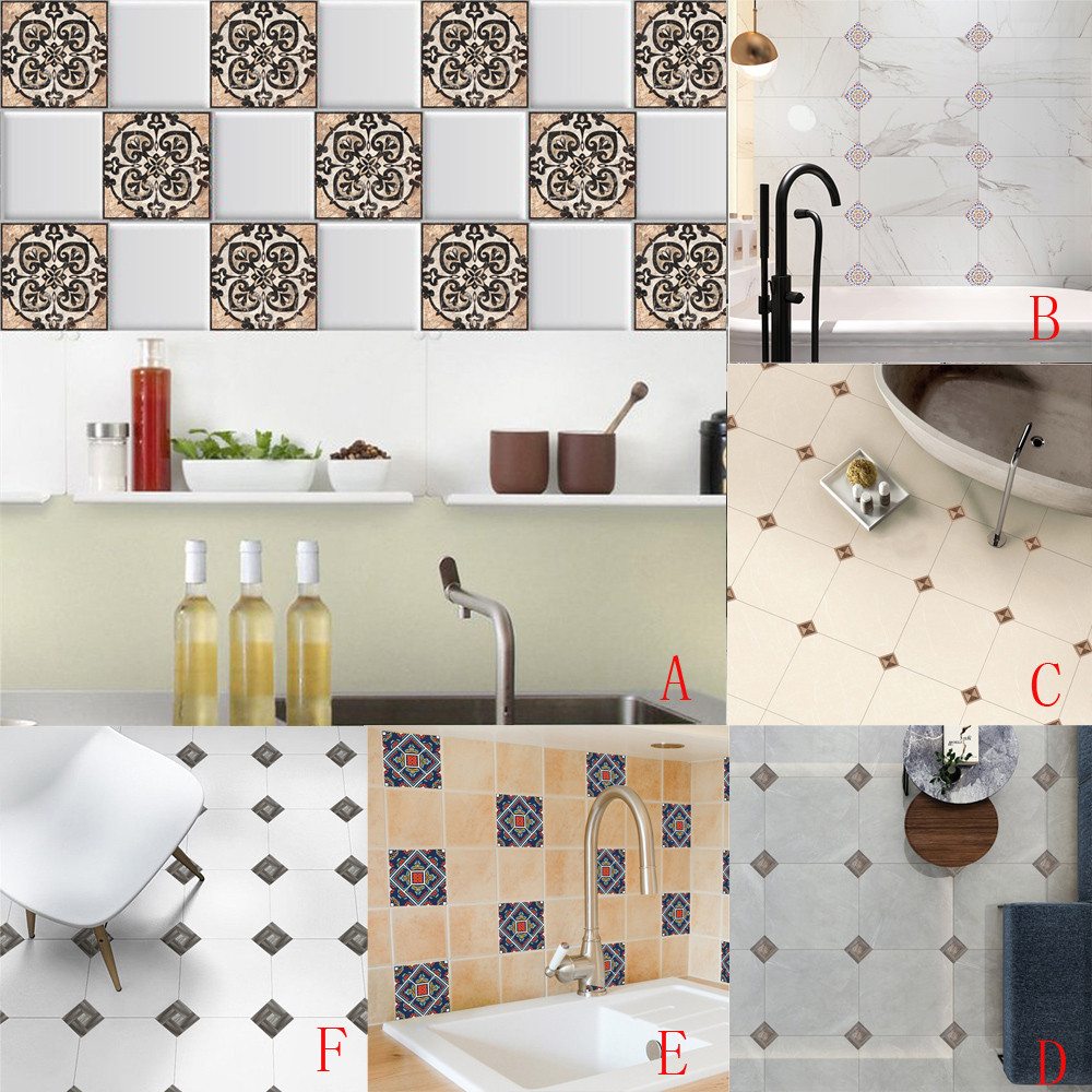 Geometric Cabinets Tile Stickers PVC Kitchen Oilproof ...