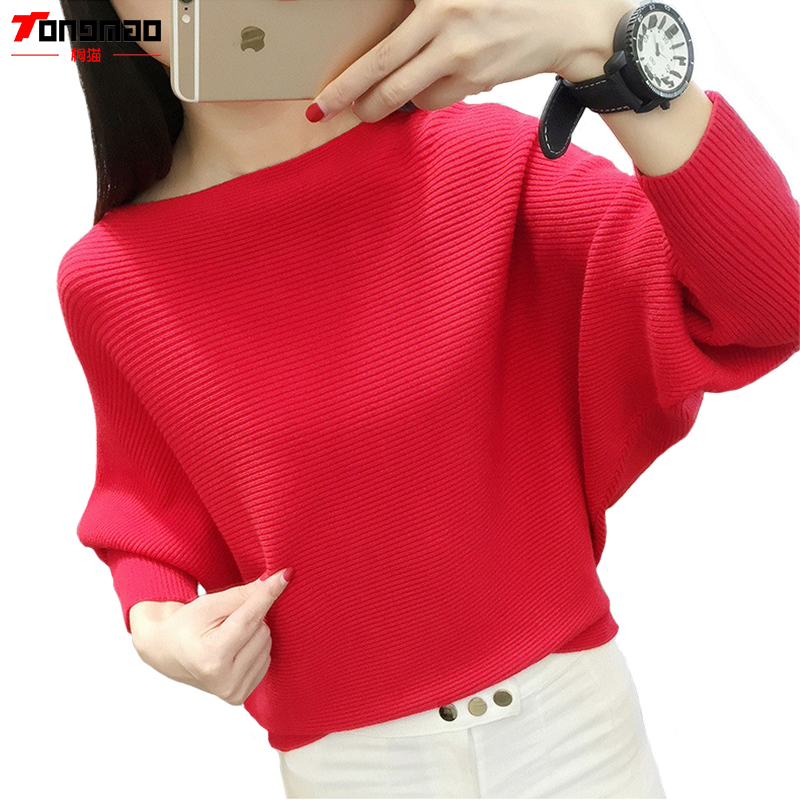Fashion Casual Bat Shirt 2018 Autumn and Winter New Womens Solid Color Long-sleeved The word collar Pullover Sweater
