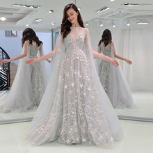 Tanpell off the shoulder evening dress gray lace floor length a line gown women prom formal plus custom long evening dresses