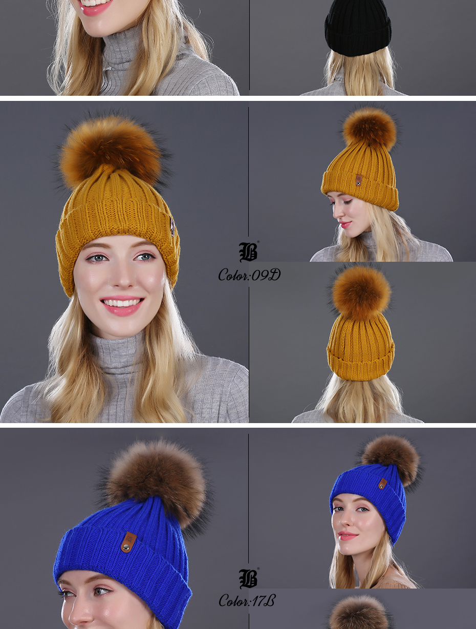 [FLB] Wholesale Real Mink Fur Pom Poms Knitted Hat Ball Beanies Winter Hat For Women Girl 'S Wool Hat Cotton Skullies Female Cap 32