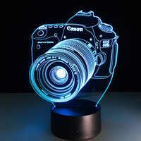 Nouveauté 3D lampe caméra Illusion lampe LED usb tactile RGB 7 couleur Table à langer veilleuse chevet décoration lampe à LED livraison directe