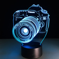 Novelty 3D Acrylic Camera Illusion LED USB Lamp Touch RGB Color Changing Table Night Light Romantic