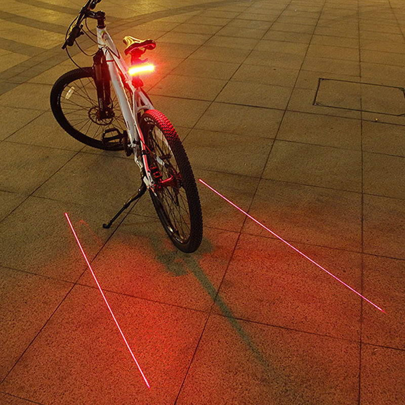 Bicycle LED Tail Light 3 Modes + 2 Laser MTB Mountain Bike Rear Light Night Safety Taillight Warning Light Lamp roswheel mtb bike bag 10l full waterproof bicycle saddle bag mountain bike rear seat bag cycling tail bag bicycle accessories
