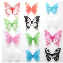 Hot Selling Home Decorations PVC 3D Crystal Butterfly Wall Stickers Home decor Colorful Butterflies 12pieces/lot