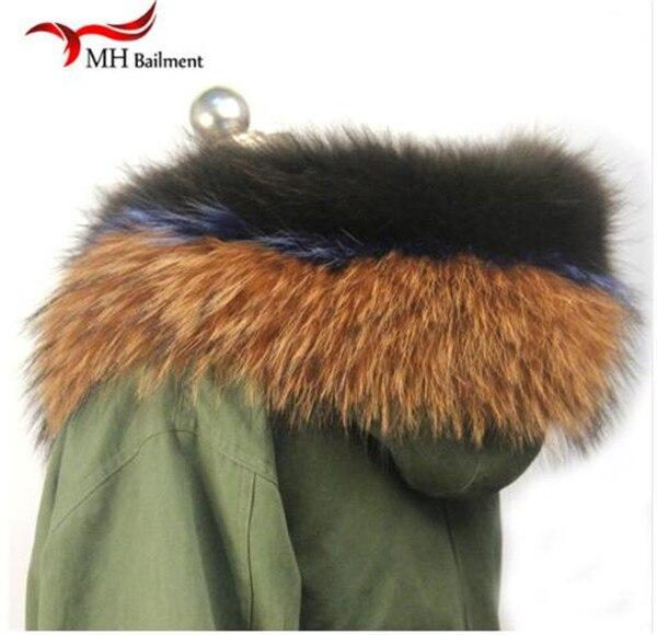 Шарф из натурального меха, пальто с меховым воротником, Женское зимнее пальто, меховые шарфы, роскошный мех енота, настоящий зимний теплый шейный платок - Цвет: H