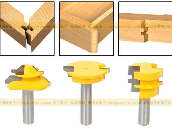 3pcs/set SHK 1/2'' tenon joint milling cutter knife drawer 15 degree tenon joint splicing woodworking knife