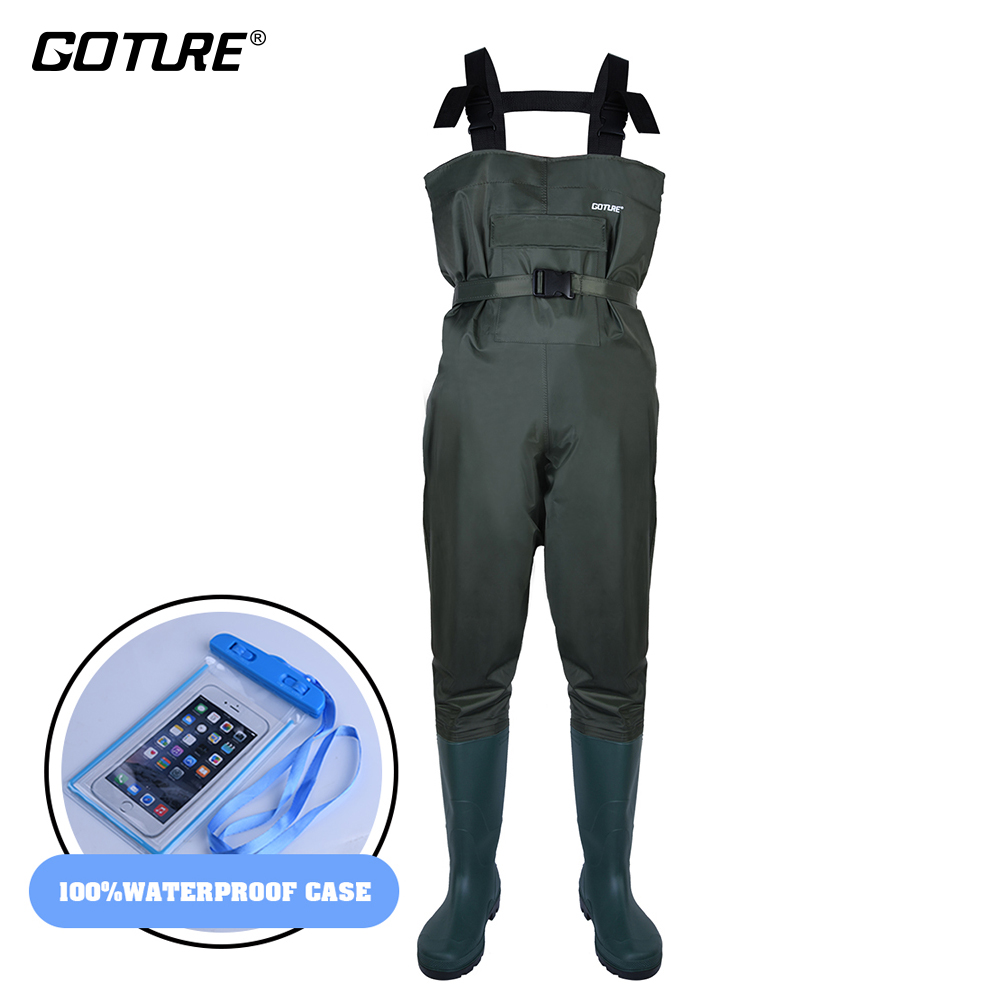 Goture Bootfoot Chest Fishing Waders Breathable 100 Waterproof Wader with Adjust Belt Waterproof Case for Fly