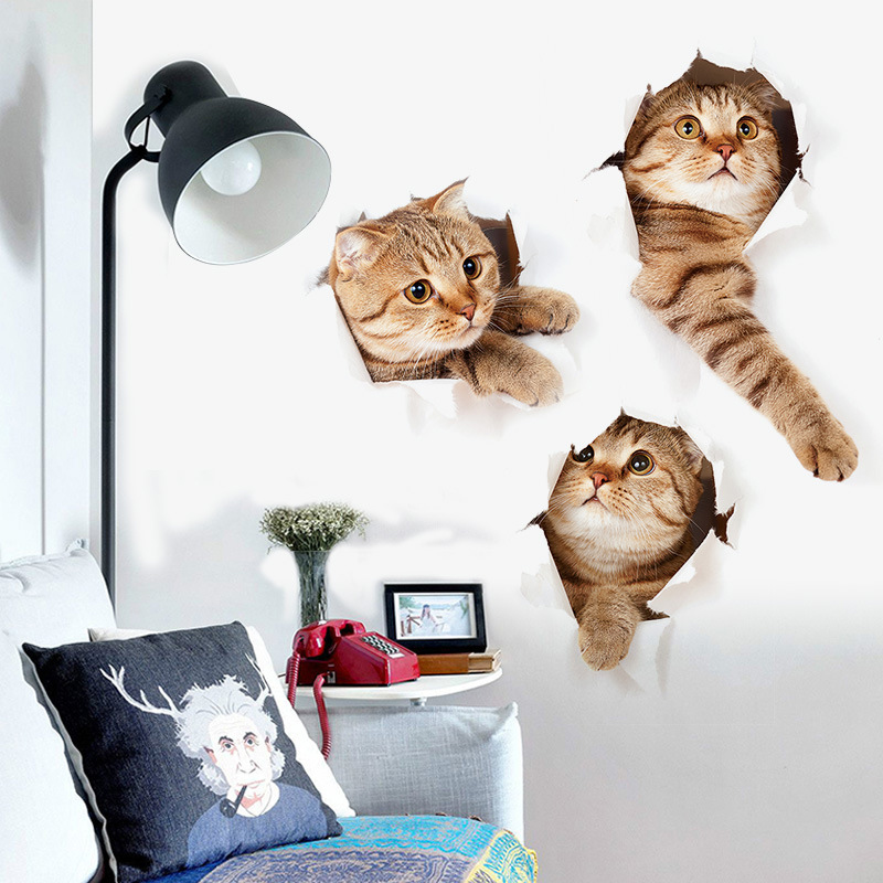 2pcs Funny 3D Cats Wall Stickers Home Decor Removable Sitting Room Porch Bedroom Wall Decals Animals Mural Art Wallpaper Poster