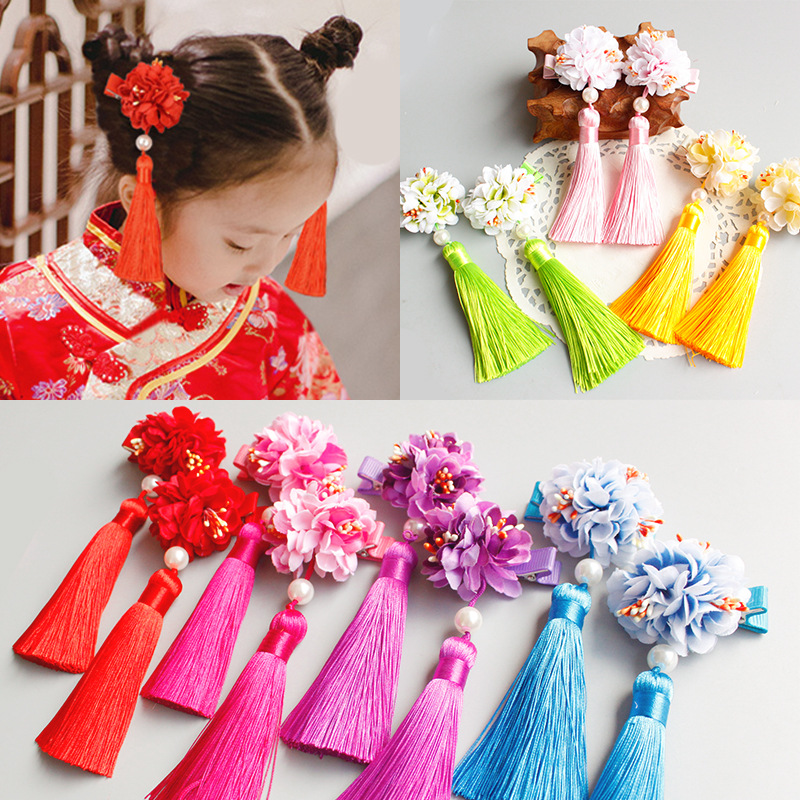 2PCS/Lot Chinese Princess Colorful Simulation Flower Long Tassels Headbands Hair Clips Girls Hair Ornament Cute Hair Accessories