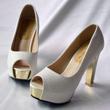 Señora zapatos mujer tacón alto bombas beige tacones altos 10 cm señoras  Stilettos peep toe plataforma zapatos 953ede5b93ec