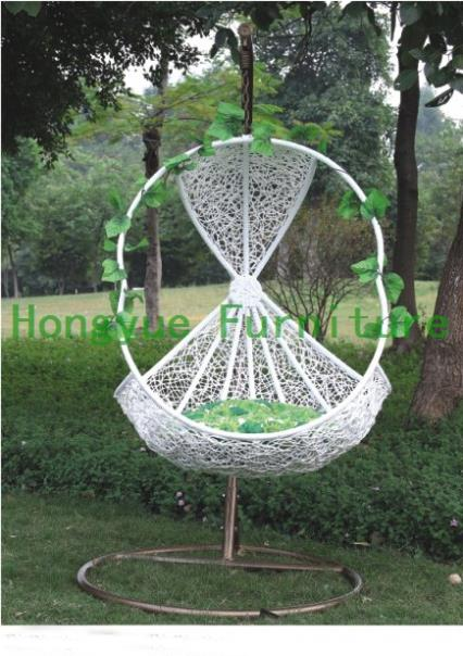 Patio White Rattan Hanging Chair Outdoor Furniture In