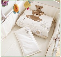 Promotion! 7pcs Embroidery Cotton Baby Bedding Set Cartoon Animals Crib Bedding Cot Quilt,include(bumpers+duvet+sheet+pillow)
