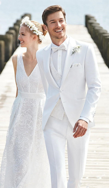 2017 Latest Coat Pant Designs White Pattern Wedding Suits For Men Skinny Summer Beach Groom Blazer
