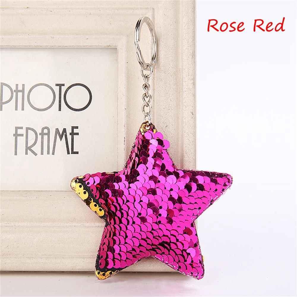 Nova moda sereia lantejoulas bolsa pingente 1 pçs forma estrela padrão feminino bolsa chaveiros acessórios para crianças melhor presente