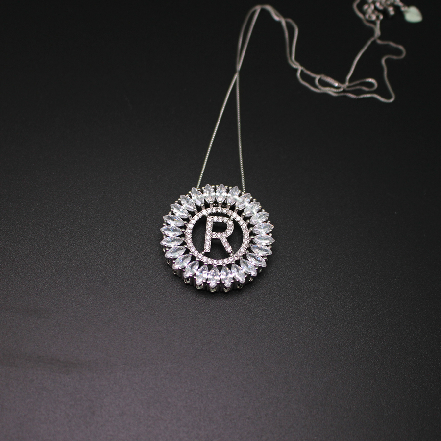 letter r pendant necklace with aaa cubic zirconia white gold plated fashion jewerly for women