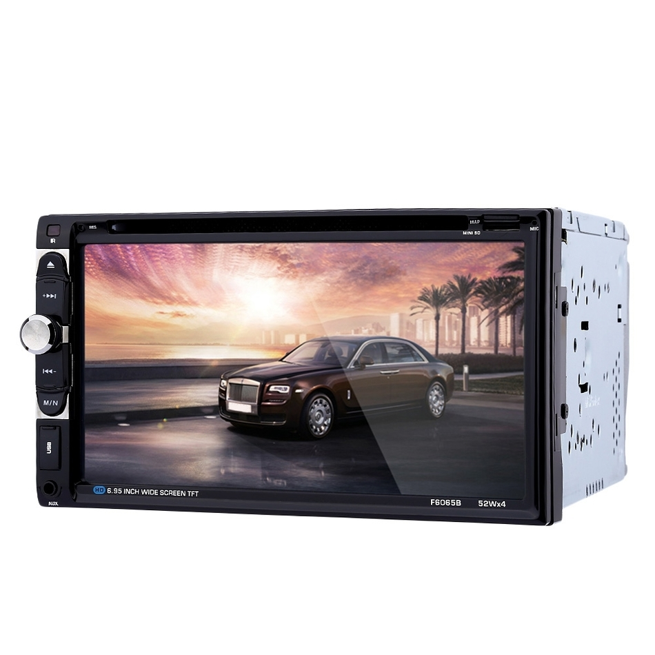 2 Din 6.95 inch 1080P Touch Screen Car Audio Stereo DVD Player Video Player Bluetooth Hands-Free FM Function with Remote Control rs 1010bt car bluetooth hands free stereo mp3 player