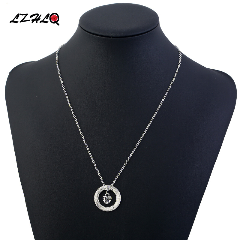 LZHLQ Retro Friendship Keepsake Choker Statement Necklace Women 4 Patterns Alloy Necklaces Pendants Trendy Collares Collier