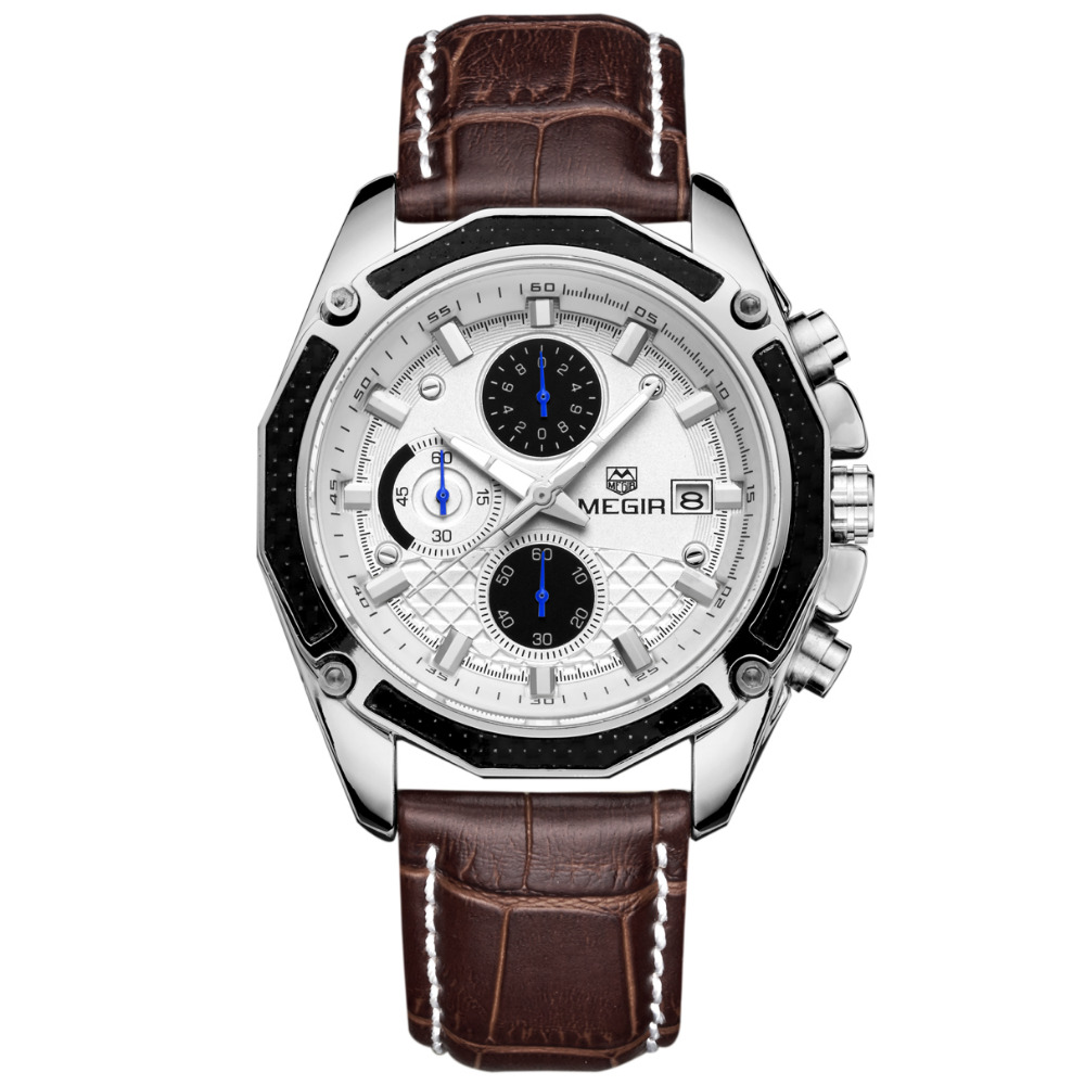 MEGIR Quartz Men's Watch Genuine Leather Chronograph 1